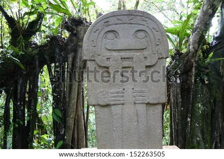 precolombian statue - stock photo