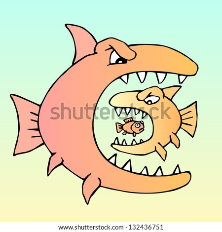 Predator eats predator. Hungry evil fish. Raster version, vector file also included in the portfolio. - stock photo
