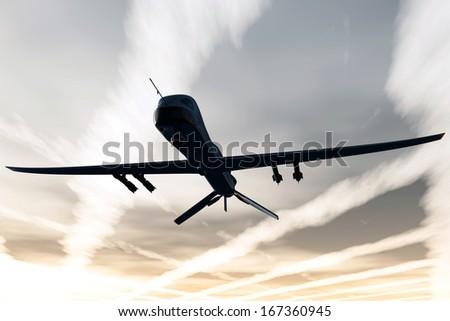Predator Type MQ1 Drones 3D artwork - stock photo