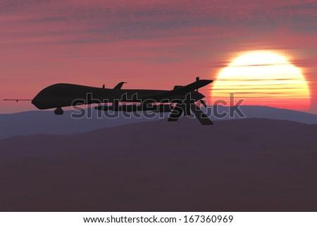 Predator Type RQ1 Drones 3D artwork - stock photo