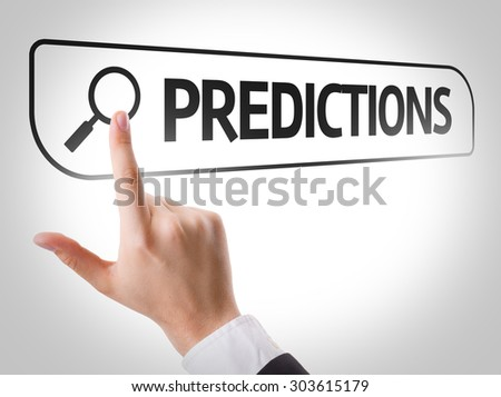Predictions written in search bar on virtual screen - stock photo