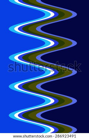 Predominantly blue abstract of corkscrew light trails for decoration and background with themes of recurrence, symmetry, fluidity - stock photo