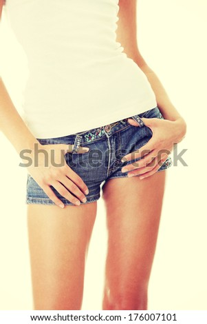 Preety woman's waist isolated on a white background  - stock photo