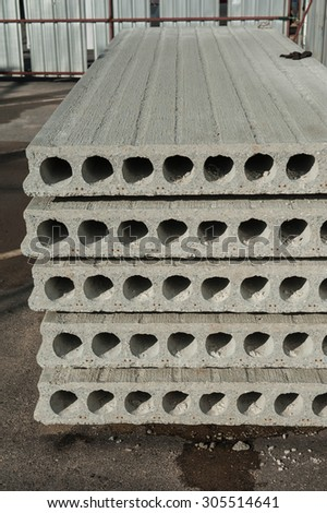 Prefabricated concrete slabs for construction.  - stock photo