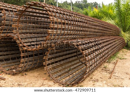 Prefabricated Piling Cages Made Reinforced Bars Stock Photo (Royalty ...