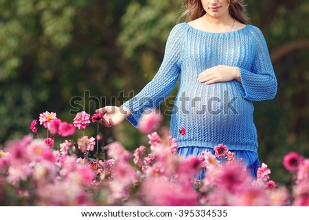 Pregnancy , close up, pregnant woman walks in the park - stock photo