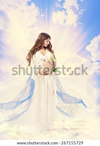 Pregnancy Maternity Beauty Concept, Pregnant Holy Woman, Saint Mother over Light Sky Cloud - stock photo