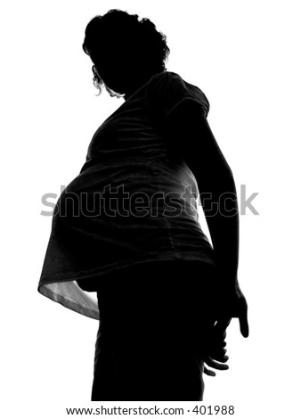 pregnancy silhouette, isolated on white background - stock photo