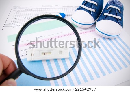 Pregnancy test on fertility chart. Magnify concept - stock photo