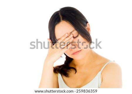Pregnant asian woman isolated on white shame upset - stock photo