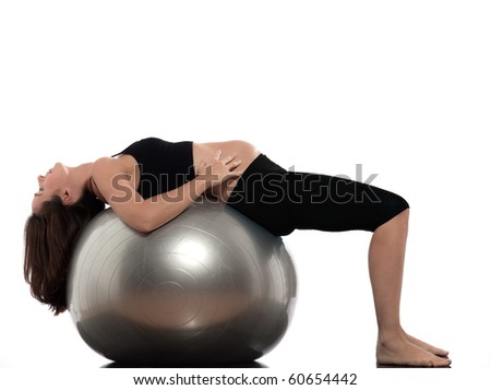 pregnant caucasian woman exercise stretching isolated studio on white background - stock photo