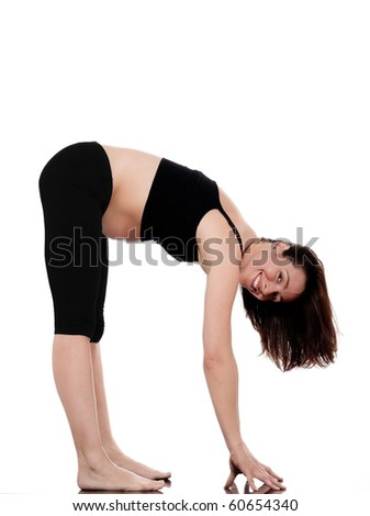 pregnant caucasian woman exercise stretching workout isolated studio on white background - stock photo