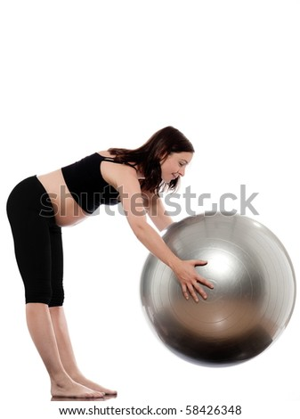 pregnant caucasian woman stretching with fitness ball isolated studio on white background - stock photo
