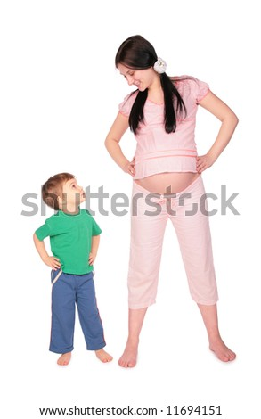 Pregnant girl with child training