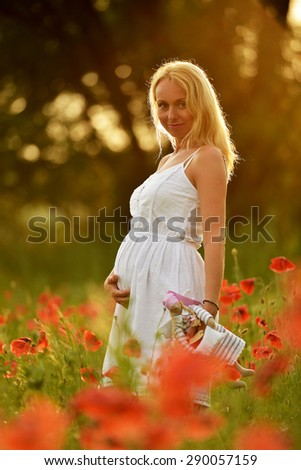 Pregnant happy woman in a flowering poppy field outdoors - stock photo