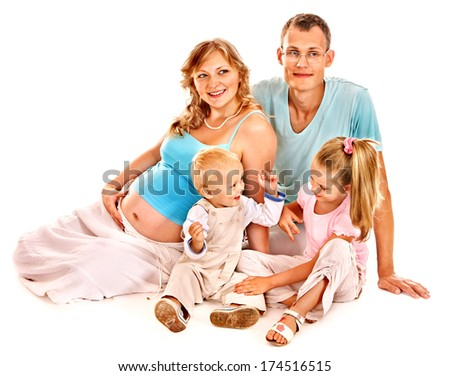 Pregnant woman and happy family with child. Isolated.