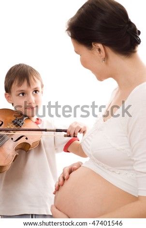 pregnant woman and the son of a violin on white background