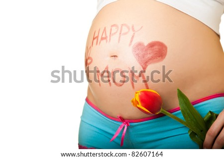 Pregnant woman belly - stock photo