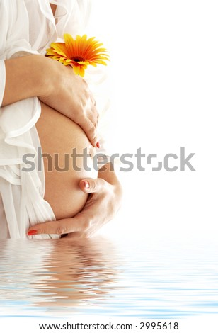 pregnant woman belly with flower in blue water - stock photo