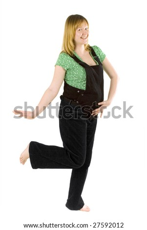pregnant woman dancing on white background - stock photo
