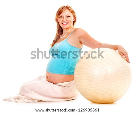 Pregnant woman do sport. Isolated.