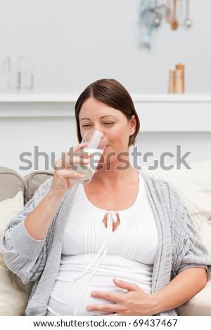 Pregnant woman drinking milk on her sofa - stock photo
