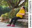 Pregnant Woman Happy and Laughing on a Park Bench - stock photo