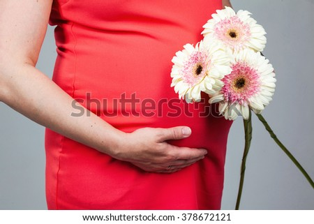 Pregnant woman holding her belly and flower - stock photo