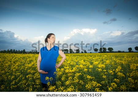 pregnant woman in rape field - stock photo