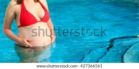 Pregnant Woman Pool Beach Stock Photo 410491912 Shutterstock