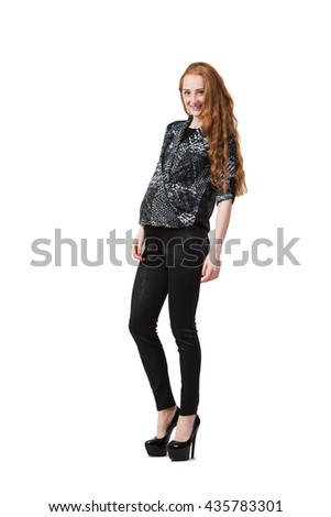 Pregnant woman isolated on the white