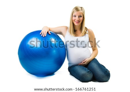 Pregnant woman isolated on white - stock photo