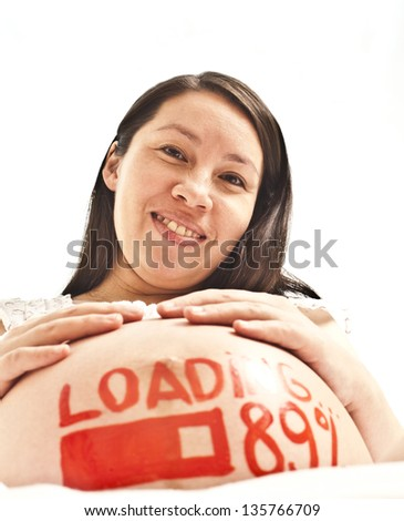 pregnant woman on white with watercolor word - loading - and figures 89%