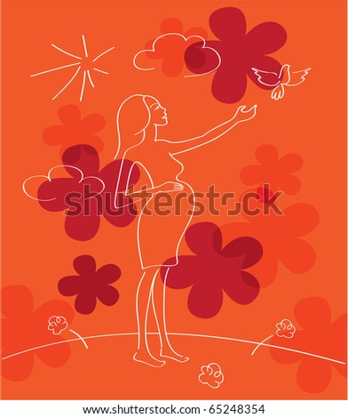 Pregnant woman's silhouette with decorative floral pattern. - stock photo