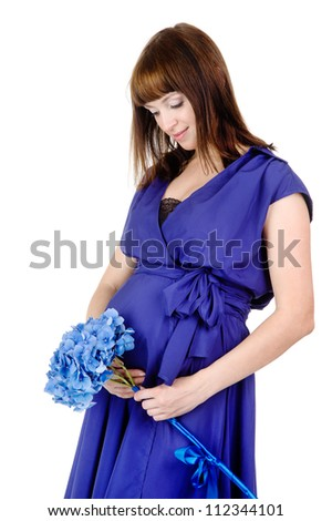 pregnant woman with a flower. isolated on white background - stock photo