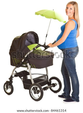 Pregnant woman with baby carriage isolated on white - stock photo