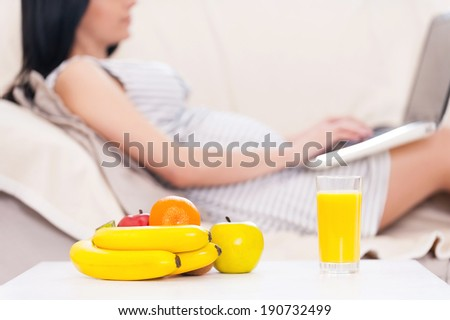 Pregnant woman with laptop. Beautiful pregnant woman working on laptop while lying on a couch - stock photo
