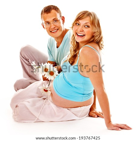 Pregnant woman with man. Isolated.