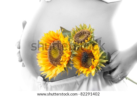 Pregnant woman with 3 sunflowers in front of her belly, with a beautiful effect showing her skin like silver (in black and white) and the sunflowers in color. The woman is african brazilian. - stock photo