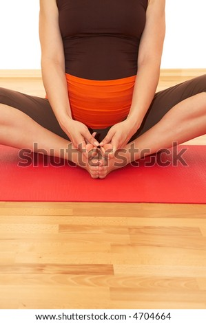 pregnant women in yoga position, active  health people - stock photo