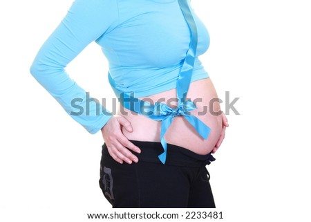 pregnant young beautiful woman in blue isolated on white