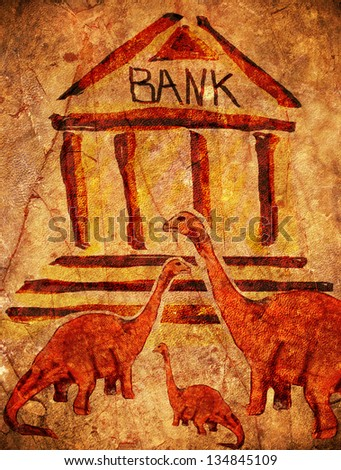 prehistoric bank with dinosaurs digital illustration - stock photo