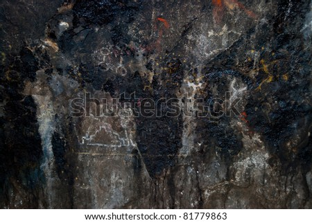 Prehistoric cave painting in Patagonia Argentina South America - stock photo