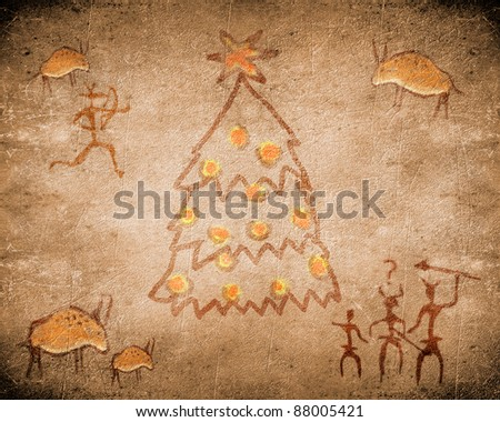 prehistoric cave painting with christmas tree - stock photo