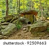 Prehistoric dolmen located in a mountain forest. Black Sea coast. Russia. - stock photo