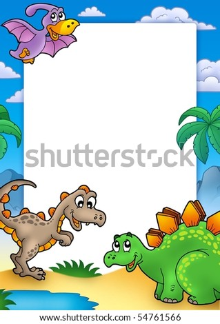 Prehistoric frame with dinosaurs - color illustration. - stock photo