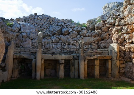 prehistoric Ggantija temples. Gozo (Maltese islands). Built approximately in 3600 B.C. - stock photo
