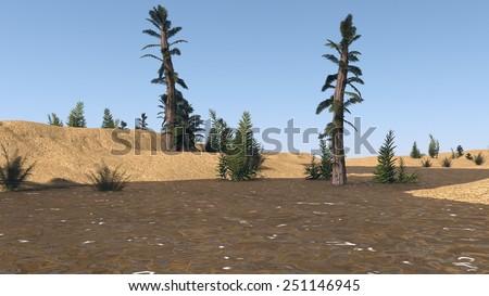 prehistoric landscape with tempskya trees - stock photo
