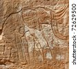 Prehistoric Rock Engraving of an Elephant - Wadi Mathendous Archeological Site - UNESCO World Heritage - stock photo