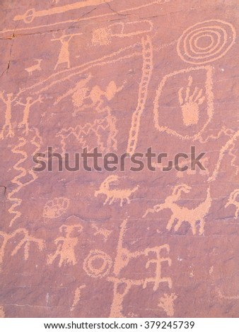 Prehistoric rock paintings in the Valley of Fire, Nevada, USA. - stock photo